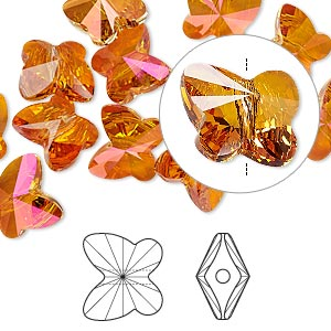 bead, swarovski crystals, crystal passions, crystal astral pink, 10x9mm faceted butterfly (5754). sold per pkg of 12.