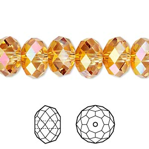 bead, swarovski crystals, crystal passions, crystal astral pink, 12x8mm faceted rondelle (5040). sold per pkg of 2.