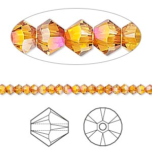 bead, swarovski crystals, crystal passions, crystal astral pink, 3mm xilion bicone (5328). sold per pkg of 48.