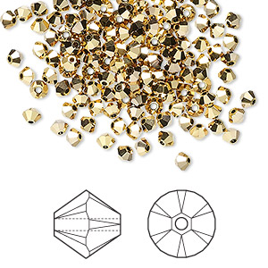 bead, swarovski crystals, crystal passions, crystal aurum 2x, 3mm xilion bicone (5328). sold per pkg of 144 (1 gross).