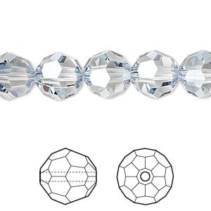 bead, swarovski crystals, crystal passions, crystal blue shade, 10mm faceted round (5000). sold per pkg of 2.