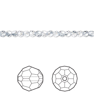 bead, swarovski crystals, crystal passions, crystal blue shade, 3mm faceted round (5000). sold per pkg of 12.
