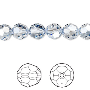 bead, swarovski crystals, crystal passions, crystal blue shade, 8mm faceted round (5000). sold per pkg of 144 (1 gross).