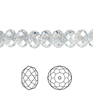 bead, swarovski crystals, crystal passions, crystal blue shade, 8x6mm faceted rondelle (5040). sold per pkg of 12.