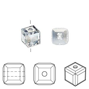 bead, swarovski crystals, crystal passions, crystal blue shade, 8x8mm faceted cube (5601). sold per pkg of 6.
