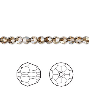 bead, swarovski crystals, crystal passions, crystal bronze shade, 4mm faceted round (5000). sold per pkg of 144 (1 gross).
