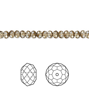 bead, swarovski crystals, crystal passions, crystal bronze shade, 4x3mm faceted rondelle (5040). sold per pkg of 12.