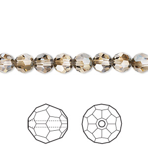 bead, swarovski crystals, crystal passions, crystal bronze shade, 6mm faceted round (5000). sold per pkg of 12.