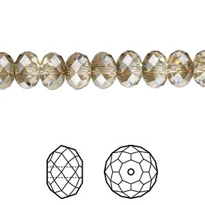 bead, swarovski crystals, crystal passions, crystal bronze shade, 8x6mm faceted rondelle (5040). sold per pkg of 288 (2 gross).