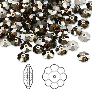 bead, swarovski crystals, crystal passions, crystal bronze shade, foil back, 6x2mm faceted marguerite lochrose flower (3700). sold per pkg of 720 (5 gross).
