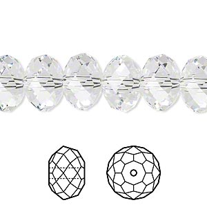 bead, swarovski crystals, crystal passions, crystal clear, 12x8mm faceted rondelle (5040). sold per pkg of 2.