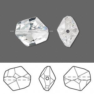 bead, swarovski crystals, crystal passions, crystal clear, 16x14mm faceted cosmic (5523). sold per pkg of 24.