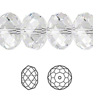 bead, swarovski crystals, crystal passions, crystal clear, 18x12mm faceted rondelle with 2mm hole (5040). sold per pkg of 6.