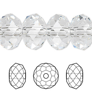 bead, swarovski crystals, crystal passions, crystal clear, 18x12mm faceted rondelle with 3.5mm hole (5041). sold per pkg of 6.