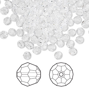 bead, swarovski crystals, crystal passions, crystal clear, 4mm faceted round (5000). sold per pkg of 144 (1 gross).