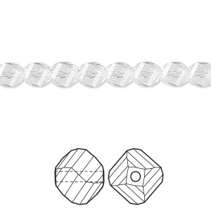 bead, swarovski crystals, crystal passions, crystal clear, 6mm faceted helix (5020). sold per pkg of 12.