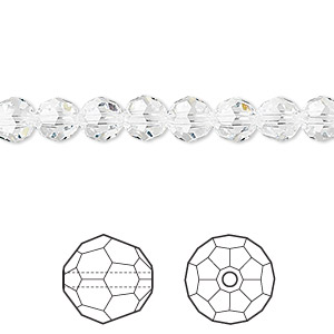 bead, swarovski crystals, crystal passions, crystal clear, 6mm faceted round (5000). sold per pkg of 12.