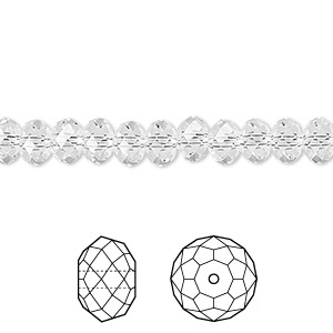 bead, swarovski crystals, crystal passions, crystal clear, 6x4mm faceted rondelle (5040). sold per pkg of 12.