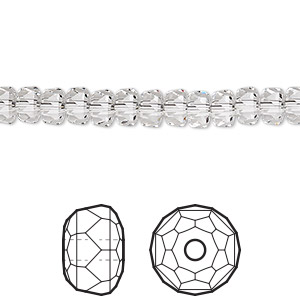 bead, swarovski crystals, crystal passions, crystal clear, 6x4mm faceted rondelle (5045). sold per pkg of 36.