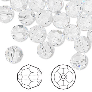 bead, swarovski crystals, crystal passions, crystal clear, 8mm faceted round (5000). sold per pkg of 144 (1 gross).