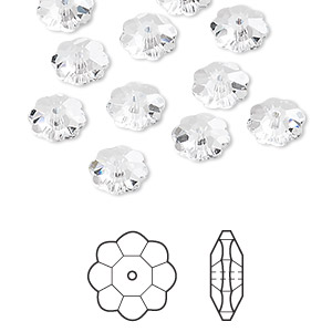 bead, swarovski crystals, crystal passions, crystal clear, 8x3mm faceted marguerite lochrose flower (3700). sold per pkg of 12.