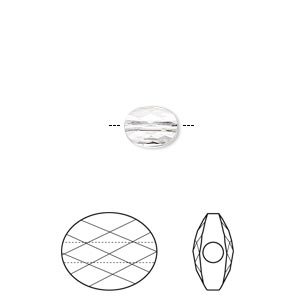 bead, swarovski crystals, crystal passions, crystal clear, 8x6mm faceted mini oval (5051). sold per pkg of 2.