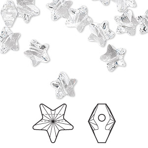 bead, swarovski crystals, crystal passions, crystal clear, 8x8mm faceted star (5714). sold per pkg of 24.