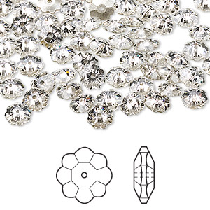 bead, swarovski crystals, crystal passions, crystal clear, foil back, 6x2mm faceted marguerite lochrose flower (3700). sold per pkg of 144 (1 gross).