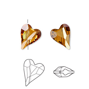 bead, swarovski crystals, crystal passions, crystal copper, 12x10mm diagonally drilled faceted wild heart (5743). sold per pkg of 108.