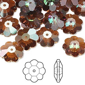 bead, swarovski crystals, crystal passions, crystal copper, 12x4mm faceted marguerite lochrose flower (3700). sold per pkg of 12.