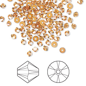 bead, swarovski crystals, crystal passions, crystal copper, 3mm xilion bicone (5328). sold per pkg of 144 (1 gross).