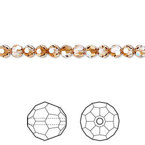 bead, swarovski crystals, crystal passions, crystal copper, 4mm faceted round (5000). sold per pkg of 12.