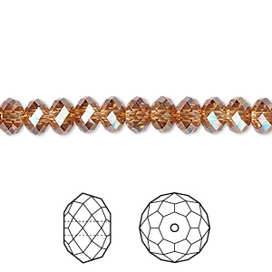 bead, swarovski crystals, crystal passions, crystal copper, 6x4mm faceted rondelle (5040). sold per pkg of 12.