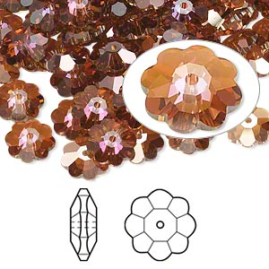 bead, swarovski crystals, crystal passions, crystal copper, 8x3mm faceted marguerite lochrose flower (3700). sold per pkg of 144 (1 gross).