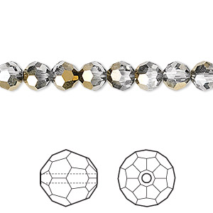 bead, swarovski crystals, crystal passions, crystal dorado, 6mm faceted round (5000). sold per pkg of 12.