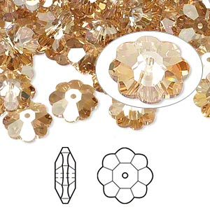 bead, swarovski crystals, crystal passions, crystal golden shadow, 10x3.5mm faceted marguerite lochrose flower (3700). sold per pkg of 12.