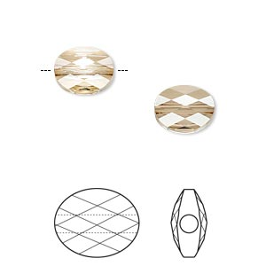 bead, swarovski crystals, crystal passions, crystal golden shadow, 10x8mm faceted mini oval (5051). sold per pkg of 24.