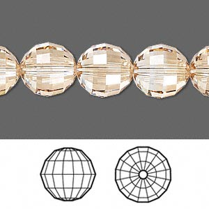 bead, swarovski crystals, crystal passions, crystal golden shadow, 12mm faceted chessboard round (5005). sold per pkg of 18.