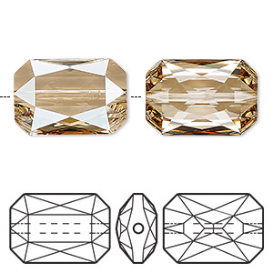 bead, swarovski crystals, crystal passions, crystal golden shadow, 18x12.5mm faceted emerald cut (5515). sold individually.