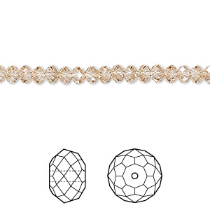 bead, swarovski crystals, crystal passions, crystal golden shadow, 4x3mm faceted rondelle (5040). sold per pkg of 12.