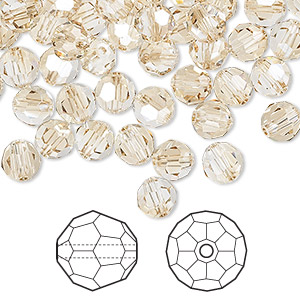 bead, swarovski crystals, crystal passions, crystal golden shadow, 6mm faceted round (5000). sold per pkg of 144 (1 gross).