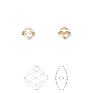 bead, swarovski crystals, crystal passions, crystal golden shadow, 6x6mm faceted mini rhombus (5054). sold per pkg of 2.