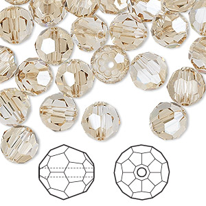 bead, swarovski crystals, crystal passions, crystal golden shadow, 8mm faceted round (5000). sold per pkg of 144 (1 gross).