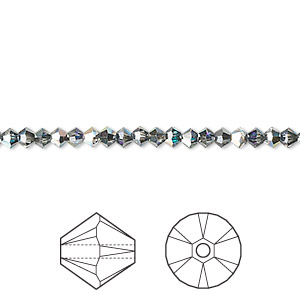 bead, swarovski crystals, crystal passions, crystal heliotrope, 3mm xilion bicone (5328). sold per pkg of 48.