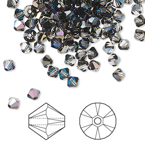 bead, swarovski crystals, crystal passions, crystal heliotrope, 4mm xilion bicone (5328). sold per pkg of 144 (1 gross).