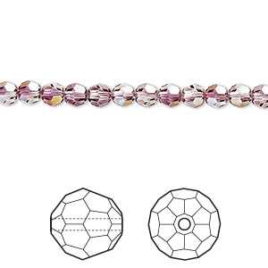 bead, swarovski crystals, crystal passions, crystal lilac shadow, 4mm faceted round (5000). sold per pkg of 144 (1 gross).