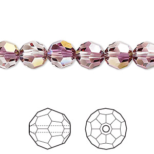 bead, swarovski crystals, crystal passions, crystal lilac shadow, 8mm faceted round (5000). sold per pkg of 12.