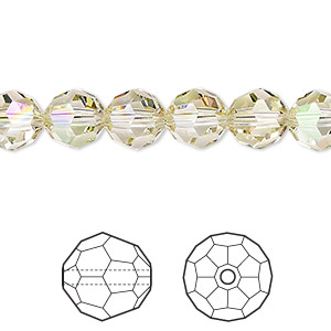 bead, swarovski crystals, crystal passions, crystal luminous green, 8mm faceted round (5000). sold per pkg of 12.