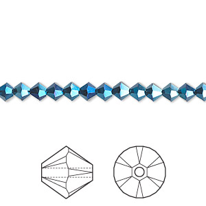 bead, swarovski crystals, crystal passions, crystal metallic blue 2x, 4mm xilion bicone (5328). sold per pkg of 48.