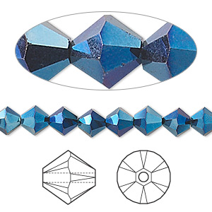 bead, swarovski crystals, crystal passions, crystal metallic blue 2x, 6mm xilion bicone (5328). sold per pkg of 24.